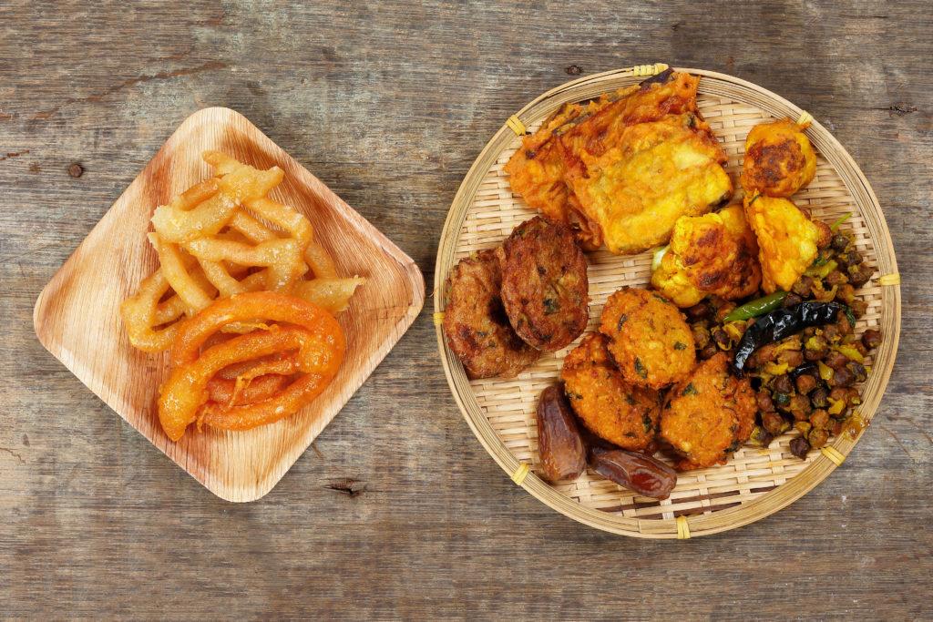 Typical Bangladeshi iftar meal eaten during Ramadan